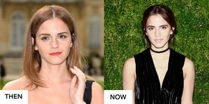 Emma Watson hair transformation from highlights to deep brown hair