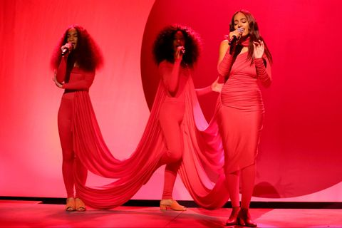 Microphone, Red, Pink, Stage, Fashion, Magenta, Talent show, Singing, Performance art, Music venue,