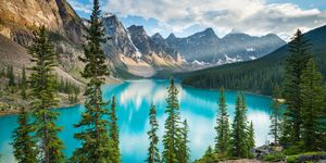 Turquoise, glacier-fed Lake Moraine in Canada's awe-inspiring Banff National Park | ELLE UK