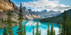 Turquoise, glacier-fed Lake Moraine in Canada's awe-inspiring Banff National Park