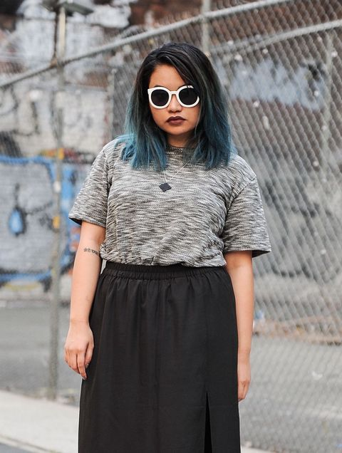 girl with black hair and blue ombre dye