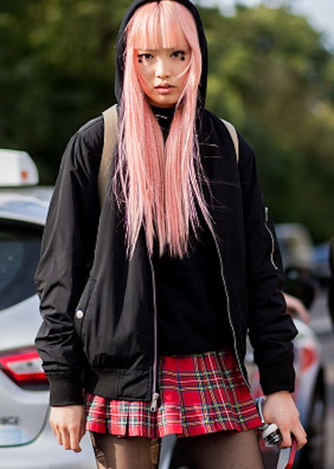 girl with bright pink dyed hair