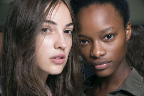 Two models backstage at Burberry SS17 show.