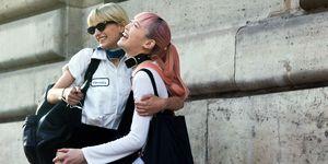 women street style hugging