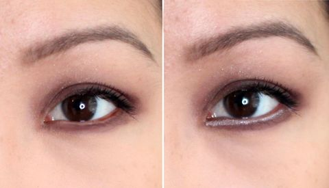 Before after comparison eye with eyeliner