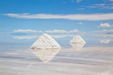 """<p>This surreal salt flat is the world's largest, with 4,500 square miles of land, salt mounds and the occasional wild ostrich spotting. Found in southwestern Bolivia, the reflective <a href=""""http://www.latimes.com/travel/la-tr-d-bolivia-salt-flat-20151213-story.html"""" target=""""_blank"""">Salar</a> is known for causing optical illusions that make tiles of salt seem endless and the sky seem underfoot. </p>"""