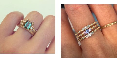 Rainbow coloured engagement rings- engagement rings which are not diamonds