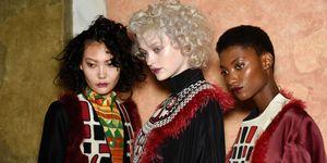 Models backstage at Milan Fashion Week