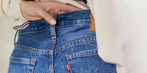 denim jeans waistband with model's hand resting