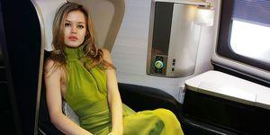 Georgia May Jagger on an aeroplane