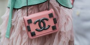 Street Style pink Chanel handbag fashion week