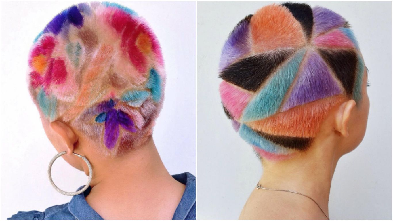Why Rainbow Hair Carving Is The Awesome Shaved Head Hair Art You