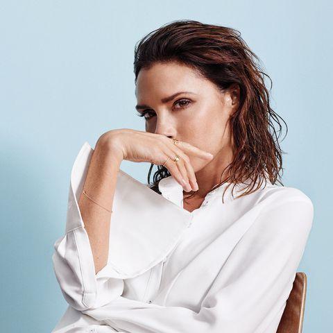 Victoria Beckham ELLE Magazine 2017  VBxEsteeLauder make up collection