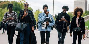Model street style on phone | ELLE UK