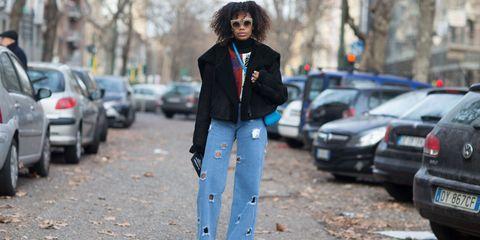 Street fashion, Clothing, Fashion, Jeans, Fur, Snapshot, Jacket, Street, Leaf, Denim,