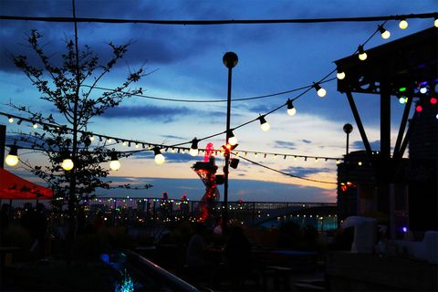 Roof East, Stratford:  rollerdisco, a baseball batting cage club, hip-hop lawn bowls , crazy golf and the Rooftop Film Club,