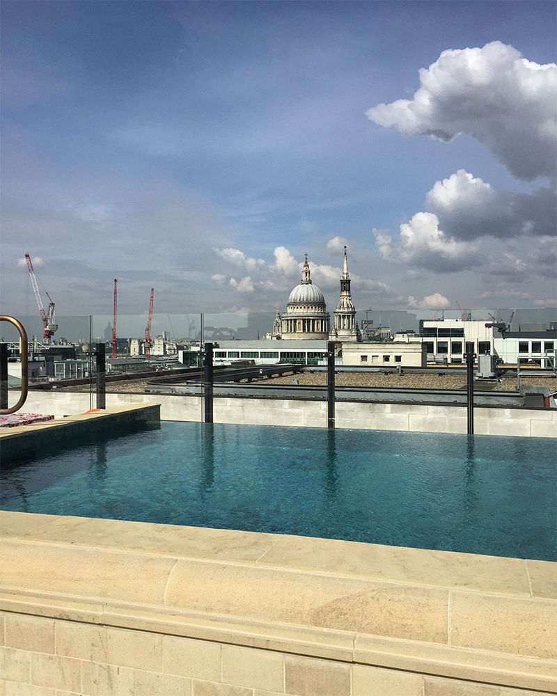 Rooftop pool at The Ned hotel and members' club London
