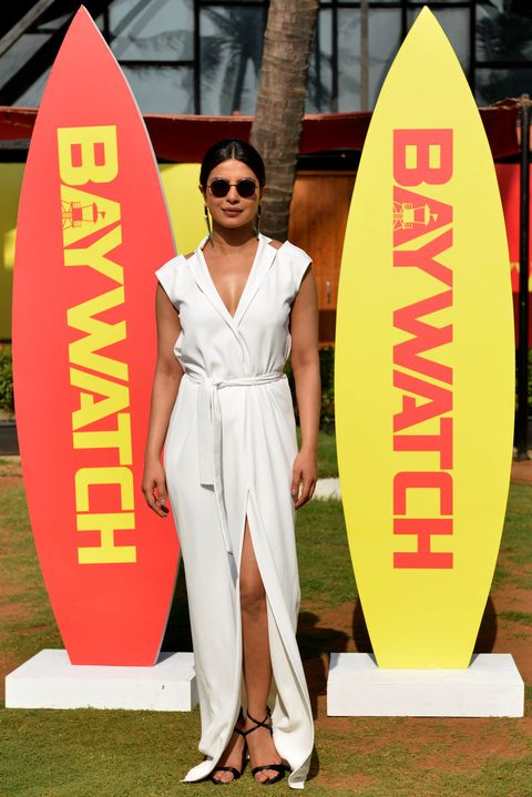 Priyanka Chopra wearing white dress in Mumbai 2017