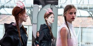 Prada Resort 2018 pigtail plaits and red lips