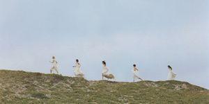 Women Only Spaces, women in white dress running, Osamu Yokonami
