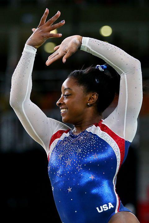 Sportswear, Gymnastics, Sports, Gesture, Championship, Athlete, Leotard, Individual sports, Artistic gymnastics, Celebrating,