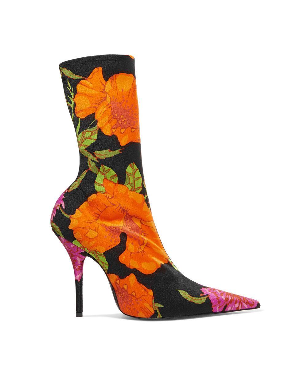 Balenciaga floral spandex ankle boots