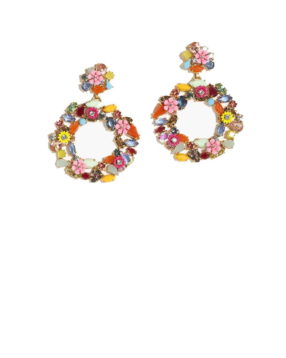 J Crew floral Hoop earrings