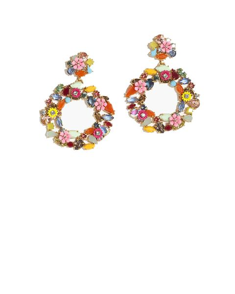 J Crew floral Hoop earrings