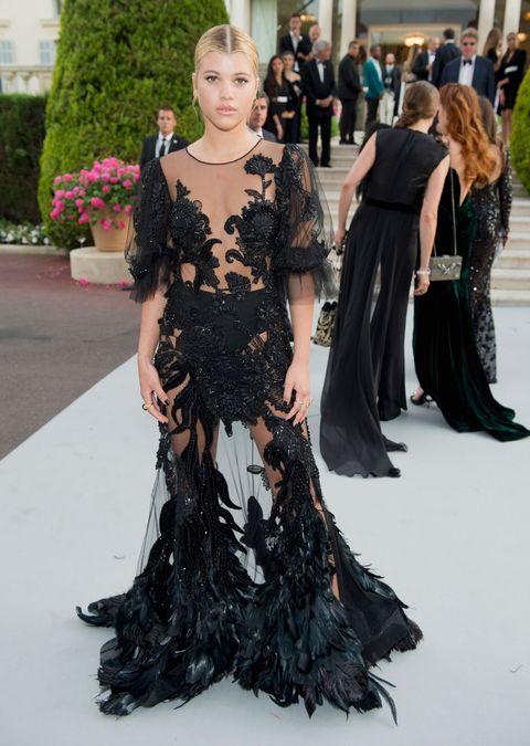 Sofia Richie in Alberta Ferretti couture dress at cannes amfAR gala 2017
