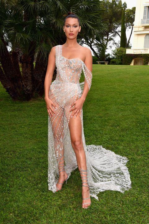 Bella hadid in custom sheer naked Ralph & Russo dress at Cannes amfAR gala 2017