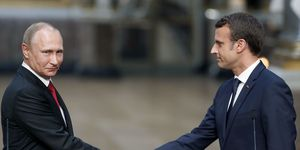 Emmanuel Macron and Vladimir Putin meeting for the first time in Versailles | ELLE UK