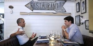 Obama and Trudeau having dinner
