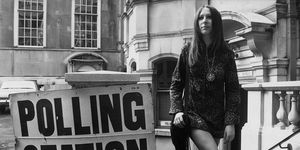Eighteen year old Sharon Nathan in April 1970 leaving a London polling station during elections for the LCC (London County Council), which were the first elections in which eighteen year olds were able to vote following a change in the law.