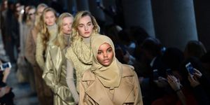 US-Somalia model Halima Aden presents a creation for fashion house Max Mara during fashion week in Milan, on February 23, 2017 | ELLE UK