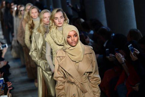 US-Somalia model Halima Aden presents a creation for fashion house Max Mara during fashion week in Milan, on February 23, 2017   ELLE UK