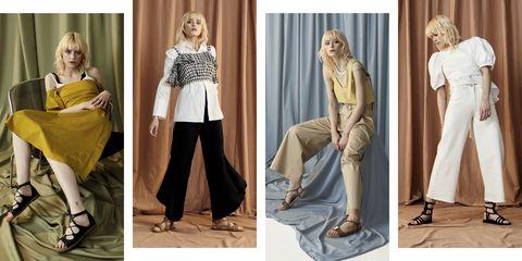 Clothing, Fashion model, Fashion, Yellow, Leg, Footwear, Dress, Trousers, Outerwear, Textile,