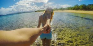 Couple holiday beach love