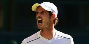 Andy Murray shouting at Wimbledon tennis court