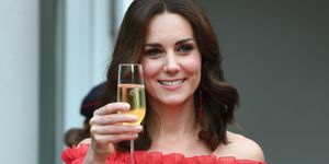 Kate middleton duchess of cambridge red off-the-shoulder alexander McQueen dress