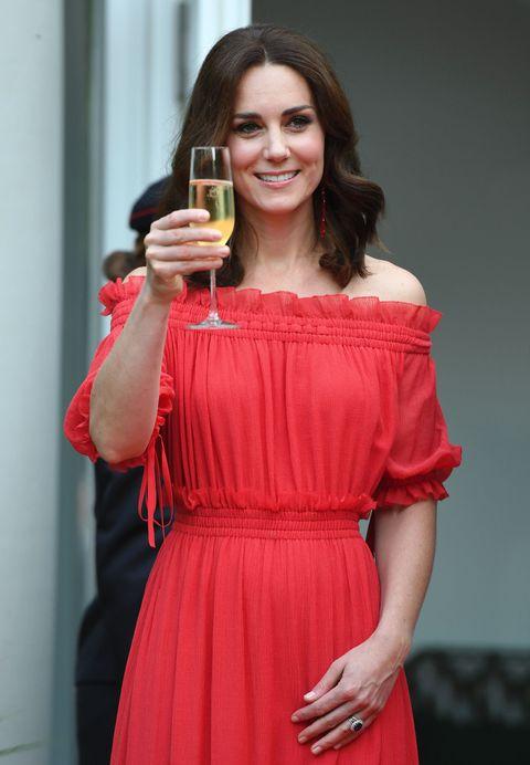 Kate middleton duchess of cambridge red off-the-shoulder alexander McQueen dress