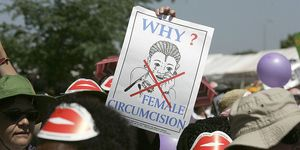 Members of African Gay and Lesbian communities demonstrate against female genital mutilation, 23 January 2007 at the Nairobi World Social Forum | ELLE UK