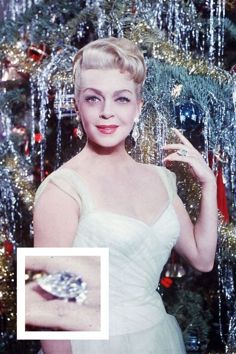 <p>The actress received this pear-shaped diamond from one of her eight husbands. </p>