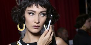 Bella Hadid on phone | ELLE UK