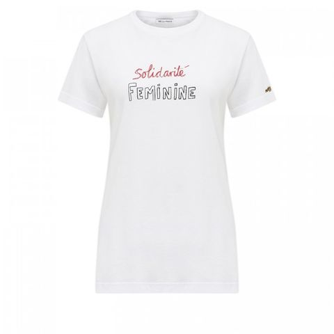 T-shirt, White, Clothing, Sleeve, Product, Text, Top, Active shirt, Font, Neck,