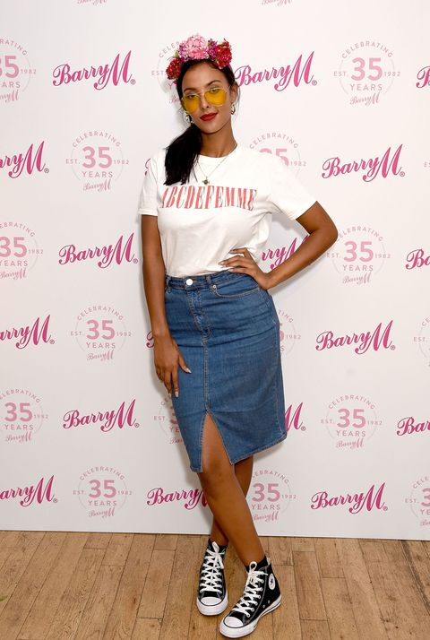 Maya Jama at the Barry M 35th Anniversary event at The OXO Tower on June 7, 2017 in London | ELLE UK