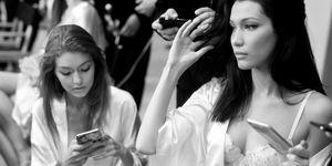 Bella and Gigi Hadid backstage at Victoria's Secret
