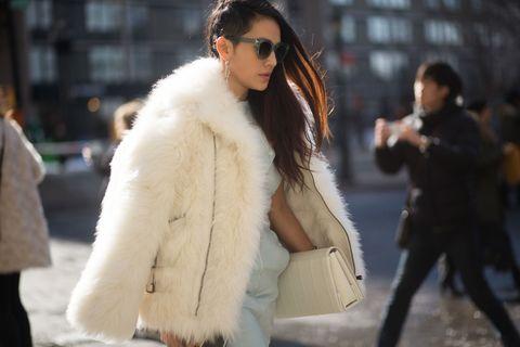 Fur clothing, Fur, Clothing, Street fashion, Fashion, Outerwear, Coat, Textile, Eyewear, Jacket,