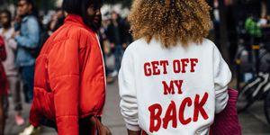 get off my back jumper - best street style london fashion week ss18