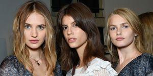 Models backstage at the Philosophy di Lorenzo Serafini show during Milan Fashion Week
