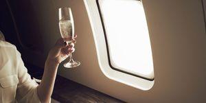 prosecco on plane - champagne on aeroplane